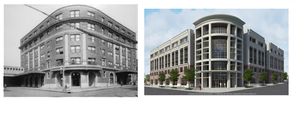 Remembering the Railroad: The heritage of the Atlantic Coast Line Railroad will be remembered throughout the site of CFCC's new Union Station Building. The former Atlantic Coast Line Railroad passenger station (at left) once sat on the now vacant site of Union Station (at right). In addition to the overall architecture of the building, the railroad will be remembered with several historical markers and a renovated coach carpenter's shop, located behind Union Station.