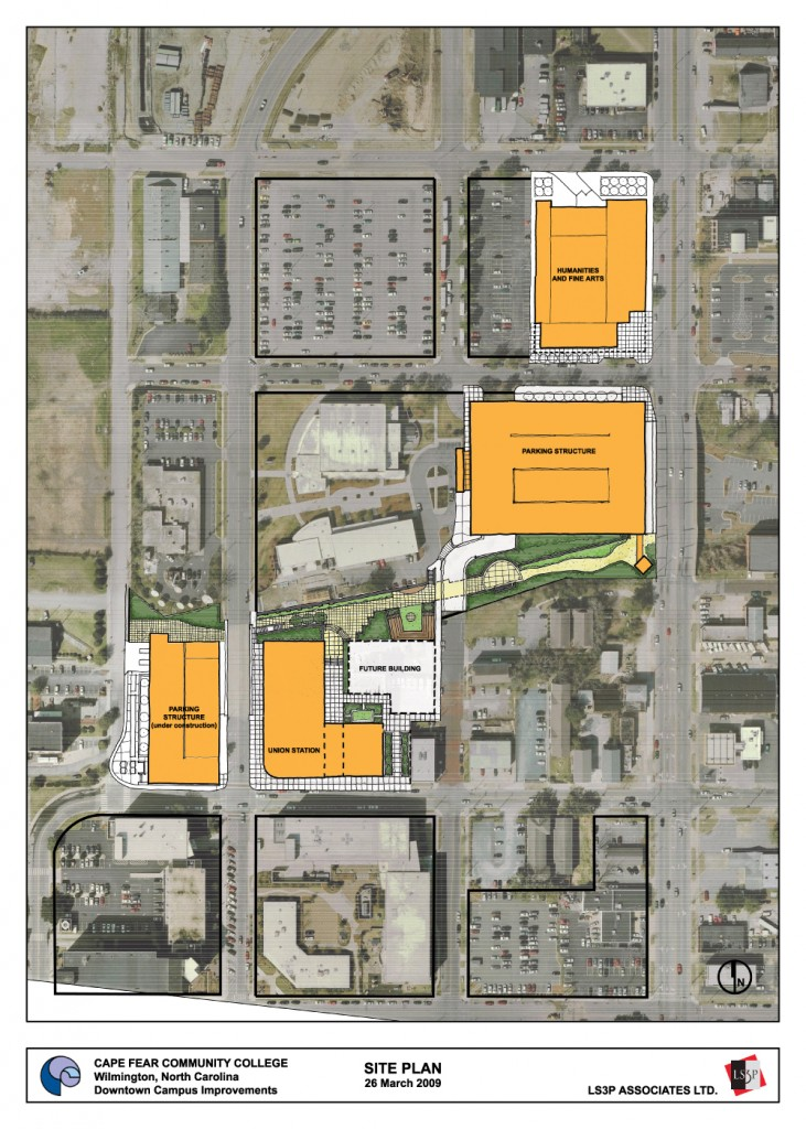 Proposed site plans for bond projects at the downtown campus