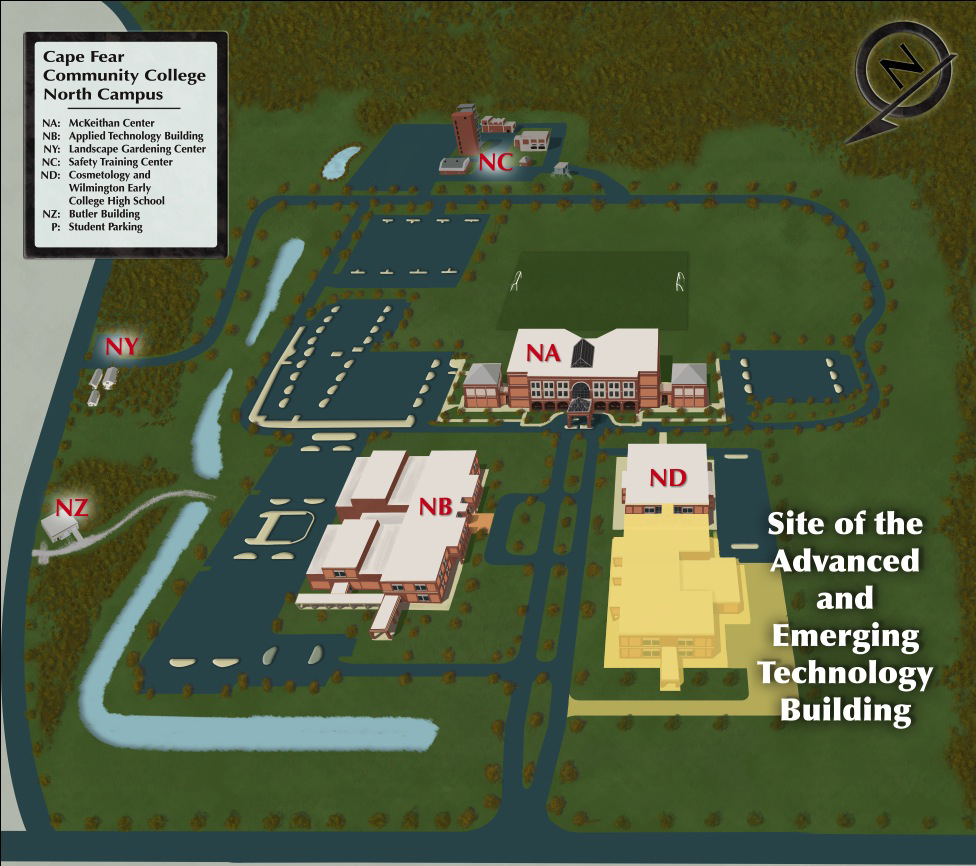 This update North Campus map shows the proposed location of the Advanced/Emerging Technology building