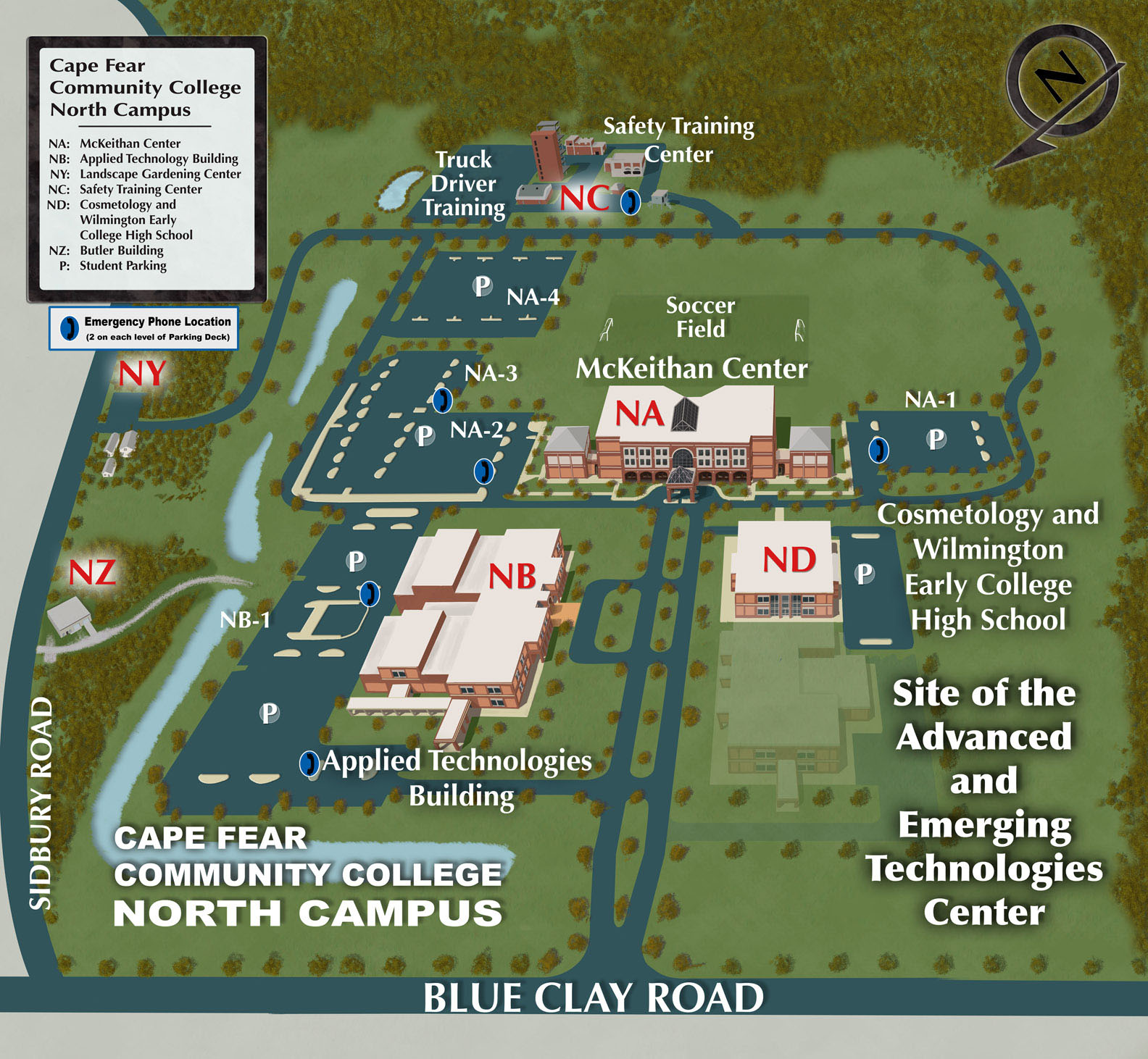 A map of CFCC North Campus.