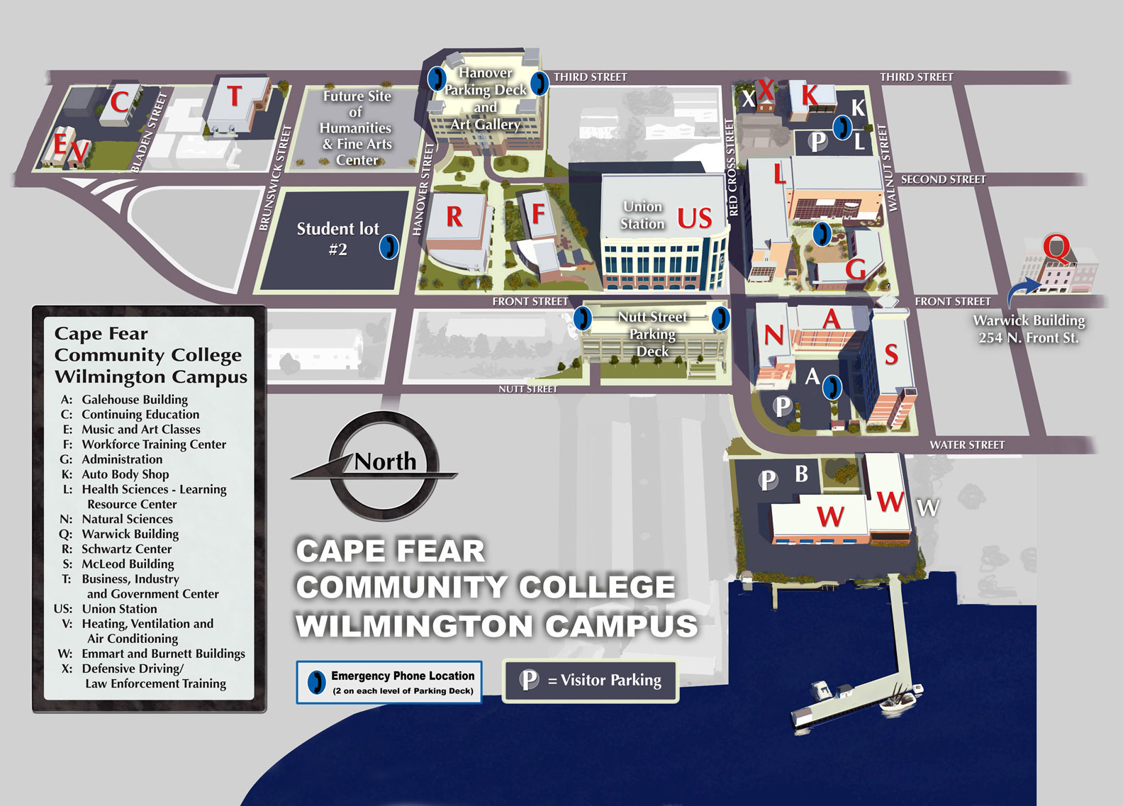 A map of CFCC Wilmington Campus