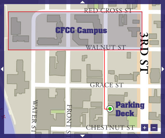 CFCC parking map detailing decks and surface lots